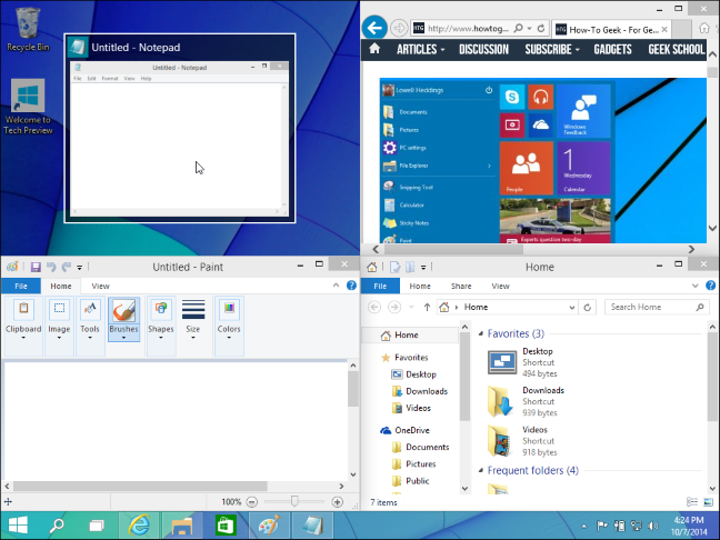 Windows 10 snapping